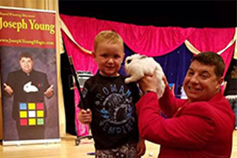 joseph young family magic show with rabbit
