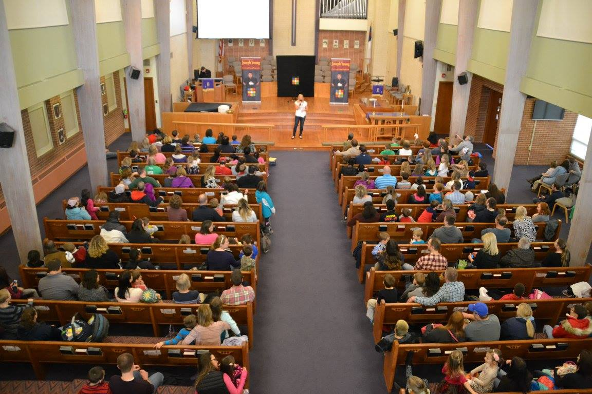 church packed for magic show