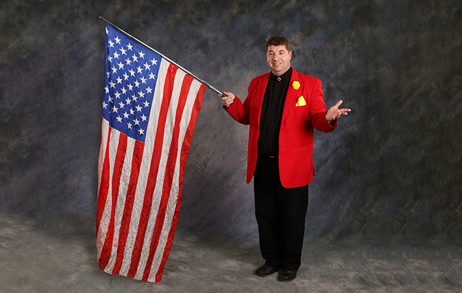 joseph young with american flag